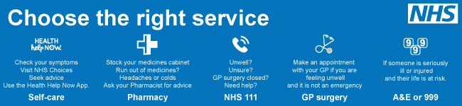 Choose the right service - Self-care, Pharmacy, NHS 111, GP Surgery or A&E or 999